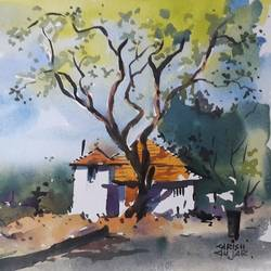 landscape , 15 x 11 inch, girish gujar,15x11inch,handmade paper,paintings,landscape paintings,watercolor,GAL01647127467