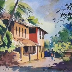 landscape , 15 x 11 inch, girish gujar,15x11inch,handmade paper,paintings,landscape paintings,watercolor,GAL01647127469
