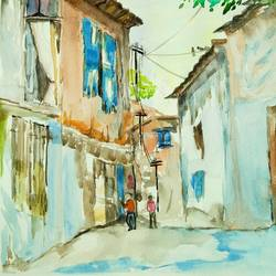 village street, 11 x 16 inch, nidhi sharma,11x16inch,handmade paper,paintings,landscape paintings,watercolor,GAL01628127481