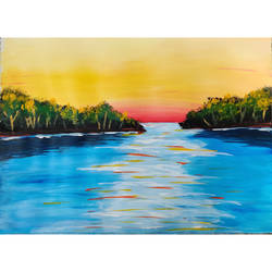 quiet lake, 16 x 12 inch, priyanshu sharma,16x12inch,thick paper,paintings,landscape paintings,nature paintings | scenery paintings,art deco paintings,paintings for dining room,paintings for living room,paintings for bedroom,paintings for office,paintings for hotel,paintings for school,paintings for hospital,acrylic color,GAL0973627487