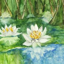 lillies in moon light, 6 x 8 inch, nidhi sharma,6x8inch,handmade paper,nature paintings | scenery paintings,watercolor,GAL01628127490
