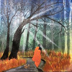 vanprastha, 12 x 10 inch, nidhi choudhari,12x10inch,canvas,paintings,buddha paintings,landscape paintings,religious paintings,nature paintings | scenery paintings,paintings for living room,paintings for hotel,acrylic color,GAL01583527493