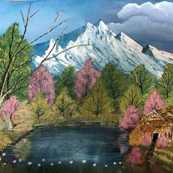lakeside hut, 18 x 14 inch, nidhi choudhari,18x14inch,canvas,paintings,landscape paintings,nature paintings | scenery paintings,paintings for living room,paintings for hotel,acrylic color,GAL01583527494
