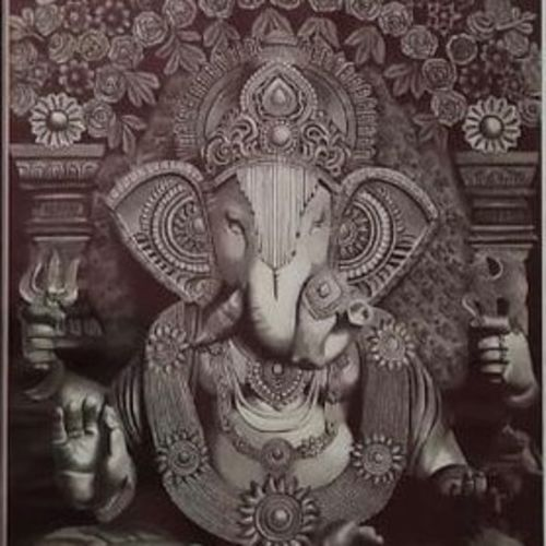 divine blessing of ganesha , 30 x 42 inch, priya  shw,30x42inch,canvas board,religious paintings,paintings for living room,paintings for living room,graphite pencil,GAL01650127495