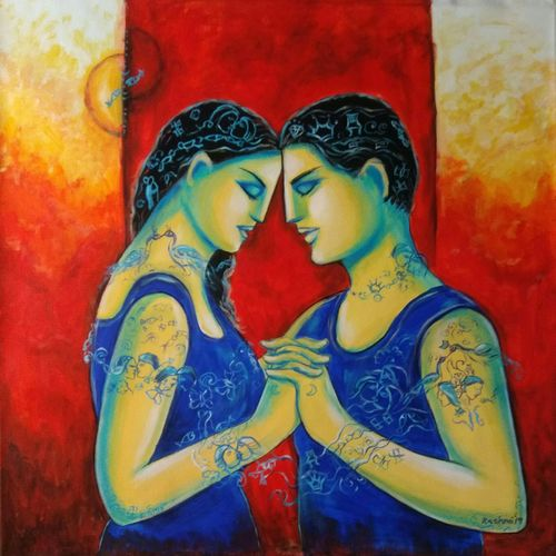 first anniversary , 36 x 36 inch, dr rashmi  prasad,36x36inch,canvas,paintings,figurative paintings,acrylic color,GAL01436827496
