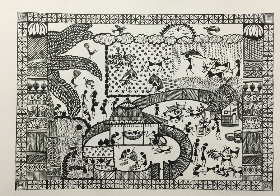 every day life , 12 x 17 inch, ragini pandey,folk art paintings,paintings for living room,thick paper,acrylic color,12x17inch,GAL0107275