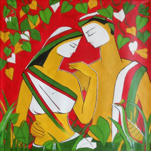 couple 1, 36 x 36 inch, dr rashmi  prasad,36x36inch,canvas,paintings,abstract paintings,figurative paintings,acrylic color,GAL01436827517