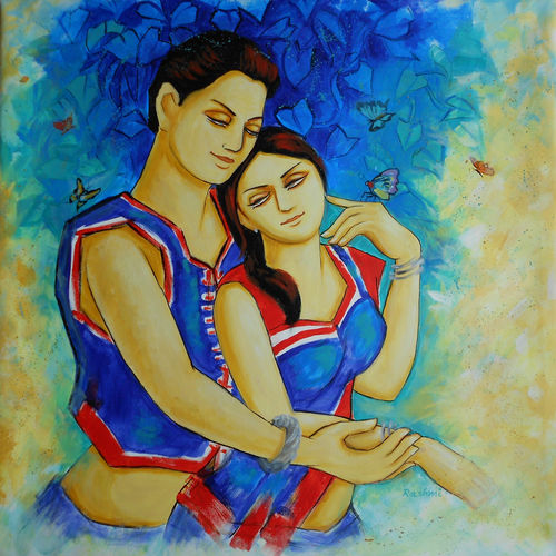 couple 2 , 36 x 36 inch, dr rashmi  prasad,36x36inch,canvas,paintings,abstract paintings,figurative paintings,acrylic color,GAL01436827519