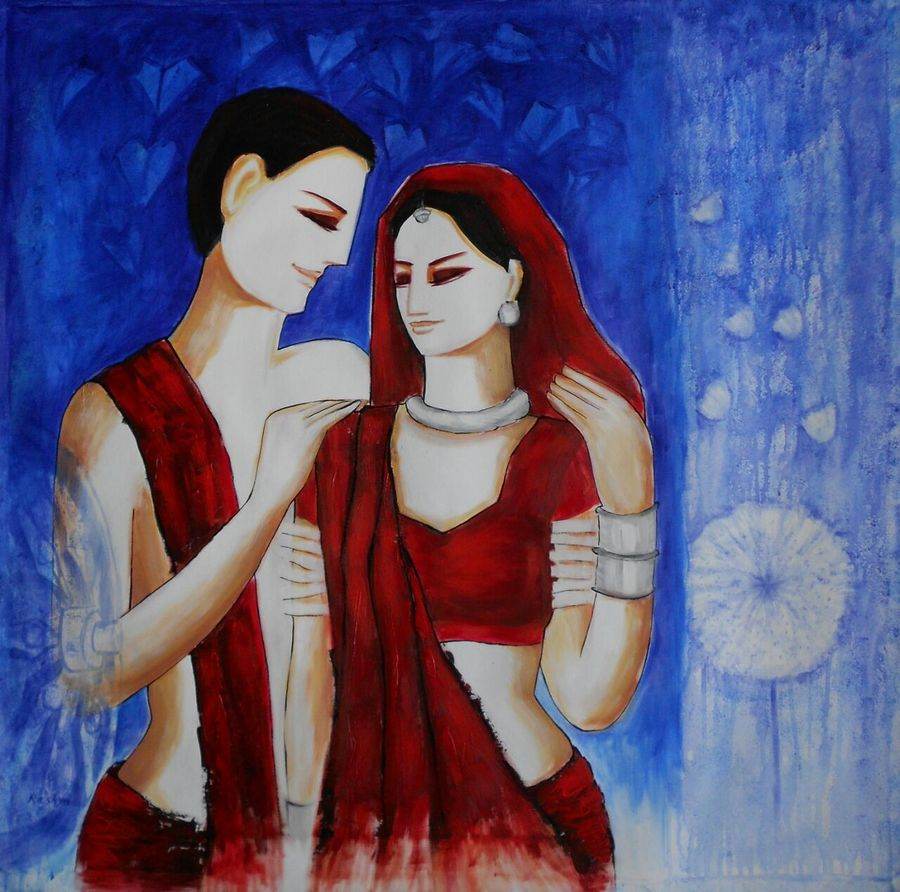 couple 3 , 36 x 36 inch, dr rashmi  prasad,36x36inch,canvas,paintings,abstract paintings,figurative paintings,acrylic color,GAL01436827520
