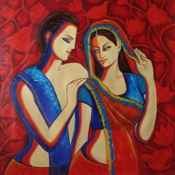 couple 4, 36 x 36 inch, dr rashmi  prasad,36x36inch,canvas,paintings,abstract paintings,figurative paintings,acrylic color,GAL01436827521