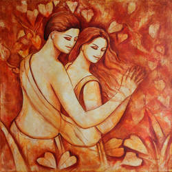 couple 5, 36 x 36 inch, dr rashmi  prasad,36x36inch,canvas,paintings,abstract paintings,figurative paintings,acrylic color,GAL01436827524