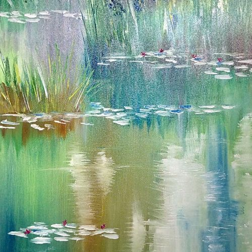 beautiful pond, green grass, forest, water, nature, 24 x 36 inch, hriday  das,nature paintings,paintings for living room,canvas,oil,24x36inch,GAL09832753Nature,environment,Beauty,scenery,greenery