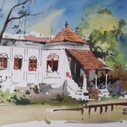 landscape , 15 x 11 inch, girish gujar,15x11inch,handmade paper,paintings,landscape paintings,watercolor,GAL01647127537