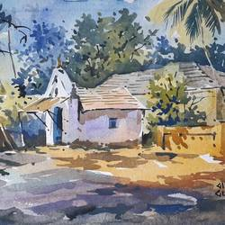 landscape , 15 x 11 inch, girish gujar,15x11inch,handmade paper,paintings,landscape paintings,watercolor,GAL01647127540