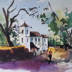 landscape , 15 x 11 inch, girish gujar,15x11inch,handmade paper,paintings,landscape paintings,watercolor,GAL01647127544