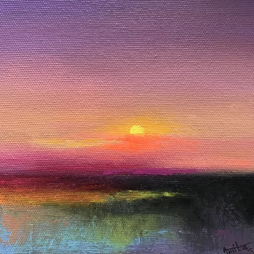 purple sky ! lake reflections ! abstract landscape, 6 x 6 inch, amita dand,6x6inch,canvas board,paintings,abstract paintings,surrealism paintings,paintings for dining room,paintings for living room,paintings for bedroom,paintings for office,paintings for hotel,paintings for hospital,acrylic color,GAL0146727553