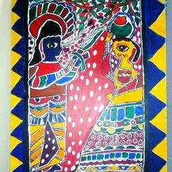 madhubani painting, 22 x 21 inch, shagun  singh,22x21inch,canvas,abstract paintings,acrylic color,GAL01653427555