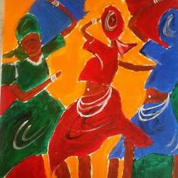 african dance , 22 x 21 inch, shagun singh,22x21inch,canvas,paintings,abstract paintings,acrylic color,GAL01653427560