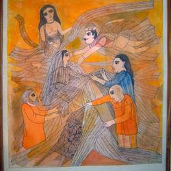 badri painting, 21 x 58 inch, haresh shivlani,21x58inch,canvas,paintings,surrealism paintings,paintings for living room,acrylic color,fabric,GAL01654327564