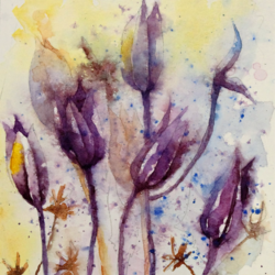 color me purple , 5 x 8 inch, anjana  sihag,5x8inch,paper,flower paintings,nature paintings | scenery paintings,paintings for living room,paintings for bedroom,paintings for office,paintings for living room,paintings for bedroom,paintings for office,watercolor,paper,GAL01579427594
