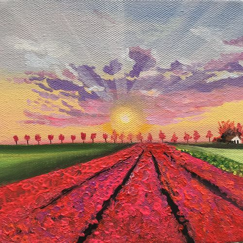 sunset at tulip garden, 6 x 6 inch, amita dand,6x6inch,canvas board,paintings,landscape paintings,nature paintings | scenery paintings,photorealism paintings,miniature painting.,paintings for dining room,paintings for living room,paintings for bedroom,paintings for office,paintings for bathroom,paintings for hotel,paintings for kitchen,paintings for school,paintings for hospital,acrylic color,GAL0146727597