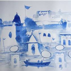 varanasi ghat, 11 x 8 inch, girish chandra vidyaratna,11x8inch,paper,paintings,religious paintings,paintings for living room,watercolor,GAL03627598