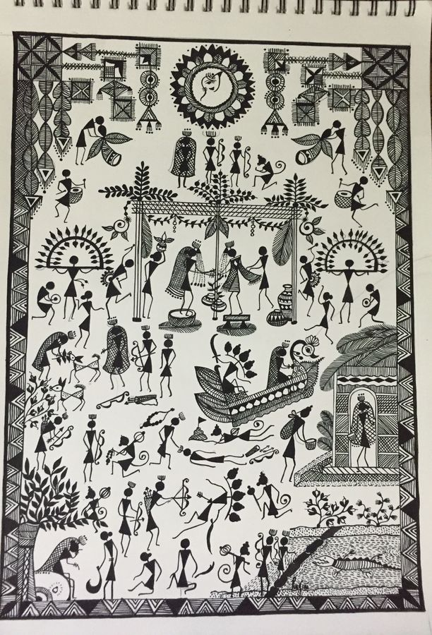 ramayana, 12 x 17 inch, ragini pandey,folk art paintings,paintings for living room,thick paper,acrylic color,12x17inch,GAL0107276