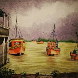 watercolour landscape, 12 x 16 inch, ruman mohanty,12x16inch,thick paper,landscape paintings,paintings for living room,paintings for living room,watercolor,GAL01535127602