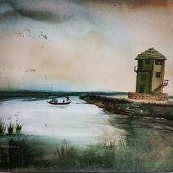 light house on a lake, 12 x 16 inch, ruman mohanty,12x16inch,fabriano sheet,paintings,landscape paintings,paintings for dining room,watercolor,GAL01535127603
