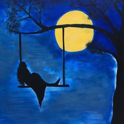 the lady and the moon, 20 x 24 inch, arnab gazi,20x24inch,canvas,paintings,figurative paintings,paintings for dining room,paintings for living room,paintings for bedroom,paintings for office,paintings for hotel,acrylic color,GAL01609127608