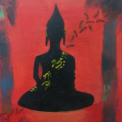 peace of mind, 12 x 18 inch, sophia rana,buddha paintings,paintings for living room,religious paintings,paintings for office,canvas,acrylic color,12x18inch,religious,peace,meditation,meditating,gautam,goutam,buddha,red,black,shadow,GAL010812761