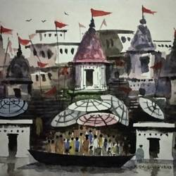 varanasi ghat, 7 x 5 inch, girish chandra vidyaratna,7x5inch,paper,paintings,religious paintings,paintings for living room,watercolor,GAL03627622