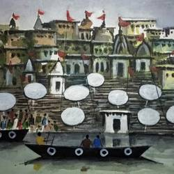 varanasi ghat, 7 x 5 inch, girish chandra vidyaratna,7x5inch,paper,paintings,religious paintings,paintings for living room,watercolor,GAL03627623