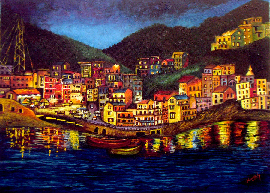 cinque terre impression, 16 x 12 inch, neeraj parswal,cityscape paintings,paintings for office,nature paintings,paintings for living room,canvas,oil,16x12inch,GAL092763Nature,environment,Beauty,scenery,greenery