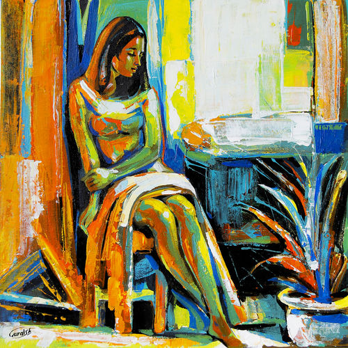 the light behind her window 8, 18 x 18 inch, gurdish pannu,18x18inch,canvas,paintings,abstract paintings,figurative paintings,impressionist paintings,photorealism paintings,paintings for dining room,paintings for bedroom,paintings for dining room,paintings for bedroom,acrylic color,oil color,GAL0253727633
