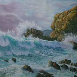 dramatic wave , 43 x 30 inch, md moin ,43x30inch,canvas,paintings,landscape paintings,paintings for living room,paintings for office,oil color,GAL01096027647