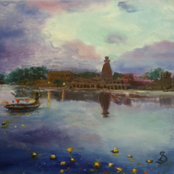 yamuna keshi ghat deepas, 15 x 11 inch, anna-g negi,15x11inch,canvas,paintings,landscape paintings,religious paintings,radha krishna paintings,paintings for dining room,paintings for living room,paintings for office,paintings for hotel,paintings for kitchen,paintings for school,paintings for hospital,oil color,GAL01519527650