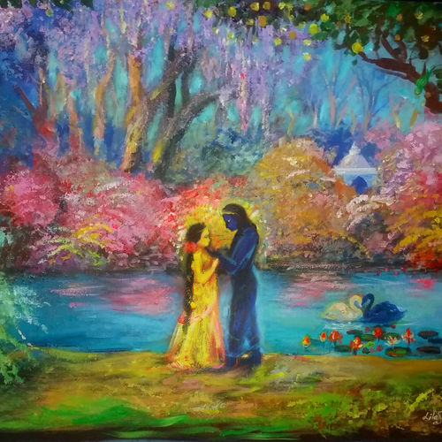 radha krishna morning meeting, 36 x 24 inch, anna-g negi,36x24inch,canvas,paintings,modern art paintings,abstract expressionism paintings,illustration paintings,radha krishna paintings,paintings for dining room,paintings for living room,paintings for bedroom,paintings for office,paintings for kids room,paintings for hotel,paintings for school,paintings for hospital,acrylic color,GAL01519527663