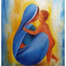 mother and child-01, 12 x 14 inch, a.b.  kaser,paintings for living room,figurative paintings,vertical,hardboard,oil,12x14inch,GAL06362767