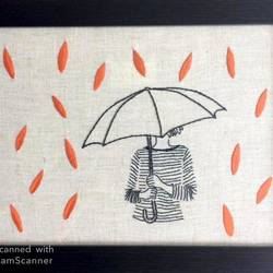 monsoon and me, 11 x 14 inch, divya rathor,11x14inch,cloth,handicrafts,embroidery work,fabric,GAL01657127671