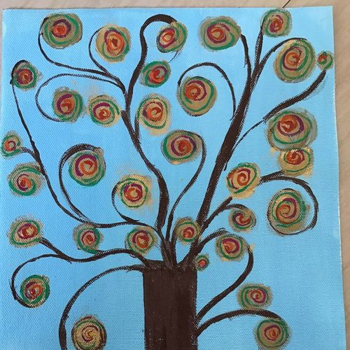 golden tree, 16 x 12 inch, minakhi choudhury,16x12inch,canvas,paintings,abstract paintings,nature paintings | scenery paintings,paintings for living room,paintings for bedroom,acrylic color,poster color,GAL01441427681