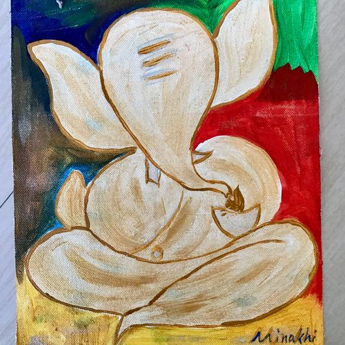 chandan ganesha, 16 x 12 inch, minakhi choudhury,16x12inch,canvas,paintings,religious paintings,ganesha paintings   lord ganesh paintings,paintings for living room,paintings for office,poster color,GAL01441427682
