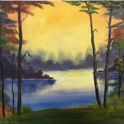 morning forest, 23 x 18 inch, shankhadeep  mondal,23x18inch,canvas,paintings,landscape paintings,paintings for dining room,paintings for living room,paintings for bedroom,paintings for office,paintings for dining room,paintings for living room,paintings for bedroom,paintings for office,acrylic color,GAL01403027685