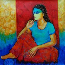 radha perplexed , 36 x 36 inch, dr rashmi  prasad,36x36inch,canvas,paintings,abstract paintings,figurative paintings,modern art paintings,conceptual paintings,contemporary paintings,love paintings,acrylic color,GAL01436827686