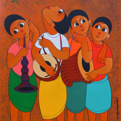 musical envoirment , 36 x 48 inch, dnyaneshwar  bembade ,36x48inch,canvas,paintings,figurative paintings,paintings for living room,acrylic color,GAL046427687