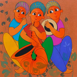 musical enjoy 1, 36 x 36 inch, dnyaneshwar  bembade ,36x36inch,canvas,paintings,figurative paintings,paintings for living room,paintings for kids room,paintings for hotel,paintings for school,acrylic color,GAL046427690