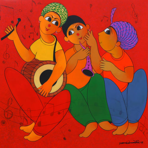 tune maker, 36 x 36 inch, dnyaneshwar  bembade ,36x36inch,canvas,paintings,figurative paintings,paintings for dining room,paintings for living room,paintings for office,paintings for kids room,paintings for hotel,acrylic color,GAL046427691