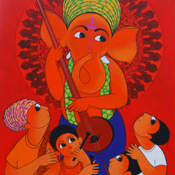 welcome ganesha , 36 x 60 inch, dnyaneshwar  bembade ,36x60inch,canvas,paintings,figurative paintings,acrylic color,GAL046427693