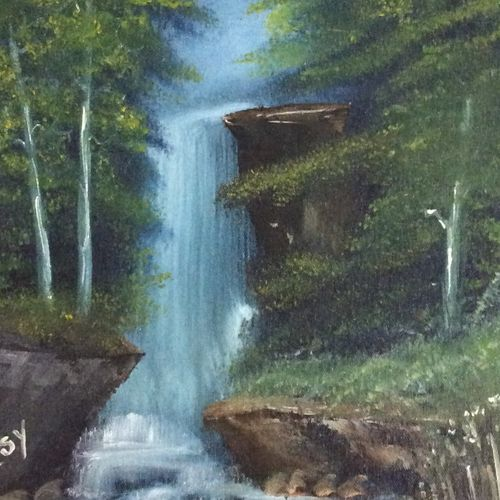 the water fall, 12 x 17 inch, hansy meshak,12x17inch,canvas board,paintings,landscape paintings,acrylic color,oil color,GAL01115127698