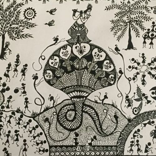 krishna seshnag, 12 x 17 inch, ragini pandey,folk art paintings,paintings for living room,thick paper,acrylic color,12x17inch,GAL0107277